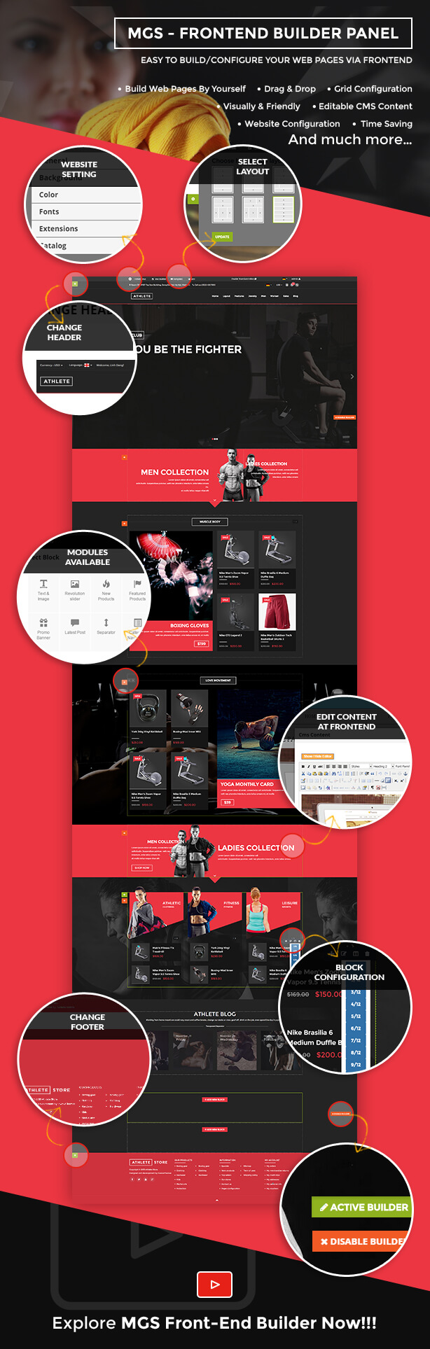 mgs builder - Athlete | Fitness - Multipurpose Magento theme