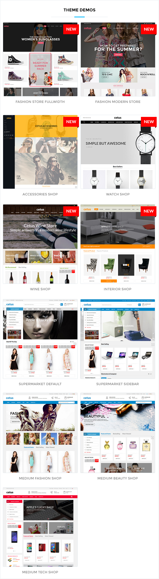 2 demos - Cetus - Multipurpose Magento Theme